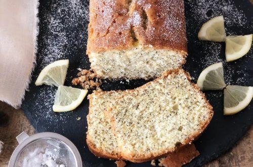 Plumcake al limone, semi di papavero, inzuppo, con farina di riso integrale