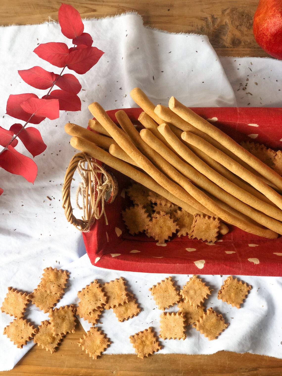 Crackers e grissini con farina di amaranto, farina di riso finissima, senza latticini