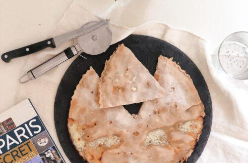 Focaccia di Recco al formaggio, senza latticini, vegana con farine naturalmente prive di glutine, senza mix