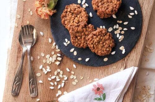 Crok con farina di riso integrale, fiocchi di avena, riso soffiato, olio, senza latticini, senza burro, senza uova